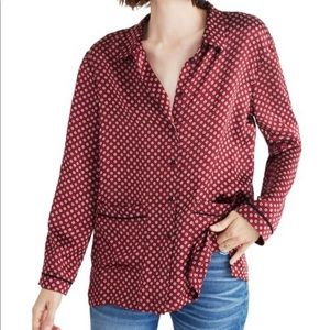 Madewell oversized silk Button up shirt